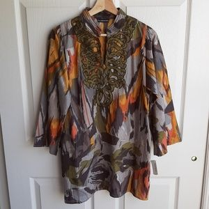 NWT Kas New York Embroidered Tunic Top Size Medium